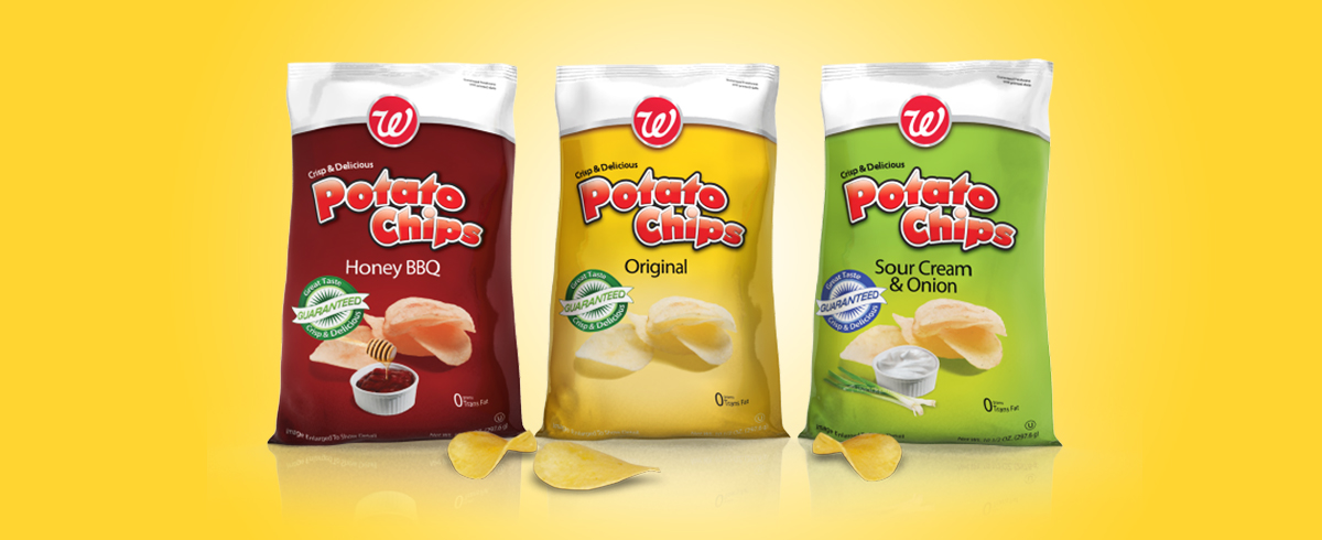 Walgreens Brand Potato Chips - Private label food package design